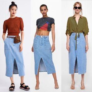 Zara Venice Blue High Waisted Denim Maxi Skirt